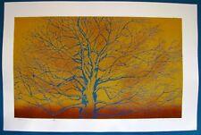 "Ippei Kusaki - ""Tree"" - 1980 Woodblock Print - Striking Color and Detail!"