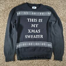 """Old Navy Boys Black """"This Is My X-mas Sweater"""" Ugly Sweater Size Small 6/7"""