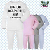 Custom Personalised Baby Pyjamas PJs Sleep NightWear Gift-Your text/logo-4styles