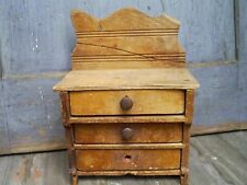 Primitive Folk Art Hand Made Miniature Chest Child's Toy Dresser Signed 1923