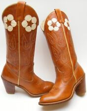 WOMENS VINTAGE ACME FLOWER BRN LEATHER STACKED HEEL COWBOY WESTERN BOOTS SZ 5 M
