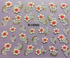 Nail Art 3D Decal Stickers Pretty Pink Flower BLE688D