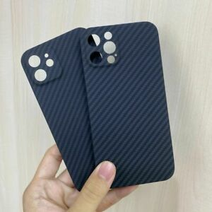 Luxury Real Carbon Fiber Fine Hole Hard Cover Phone Case for iPhone 12 / 12 Pro