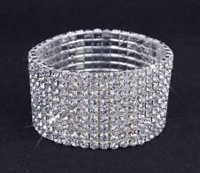 Silver Tone Crystal Clear Diamonte / Diamante 9 Row Stretchy Bracelet - NEW!!