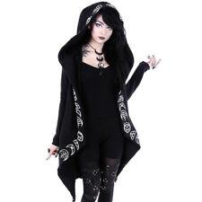 Punk Hooded Cloak Cardigan Womens Black Gothic Hoodie Jacket Witch S-5XL I3Z8