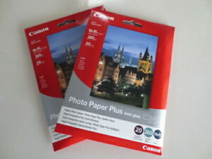 2 PACKS OF 20 SHEETS CANON PHOT0 PAPER PLUS SEMI-GLOSS SATIN SG-201 260gsm 10x15