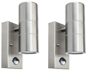 2 x PIR Stainless Steel Up Down Outdoor Wall Light With Movement Sensor 204 IP65