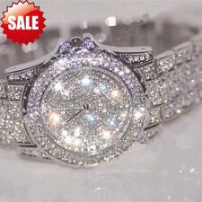 Luxus Damenuhr Strass Keramik Kristall Quarz Analog Armbanduhr Edelstahl Watch