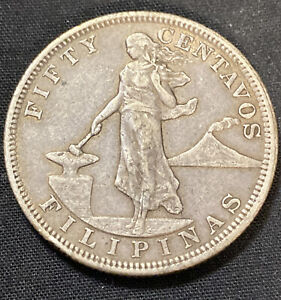 PHILIPPINES COINS 1903 FIFTY 50 CENTAVOS XF CIRCULATED