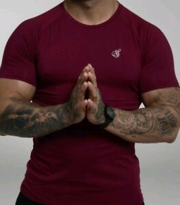 Signature Stretch Cotton T-Shirt - Burgundy (White Emblem)