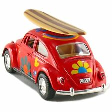 Kinsmart 1967 Volkswagen Beetle Decal w/Surfboard Diecast Model 1:32 VW Red