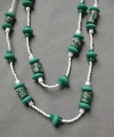 Vintage Art Deco Flapper, Glass Bead Necklace, Green & White, Wedding Cake Beads