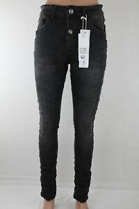 Jewelly Damen Jeans schwarz Denim Stretch Knopfleiste Waschung JW1591 NEU 2020