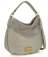 MARC JACOBS NEW Q HILLIER CEMENT GREY LEATHER LARGE HOBO SHOULDER BAG PURSE*NWT*
