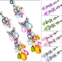 4.5 in MULTI PURPLE GREEN PINK CRYSTAL ACRYLIC DANGLE SILVER BUTTERFLY EARRINGS