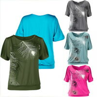 Summer Women Loose Short Sleeve Blouse Ladies Clothes Tops T-Shirt Feather Print