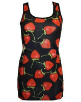 NEW LADIES CUTE STRAWBERRY FRUITS FUNKY LONG VEST TOP SUMMER DRESS GOTH PUNK EMO