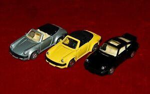 Die Cast MODELS 1:38 PORSCHE 911 SPEEDSTERS Lot OF 3 Cars