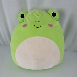 """XL 16"""" Wendy the Green Frog Pink Cheeks Rare Collectible Soft Plush Squishmallow"""