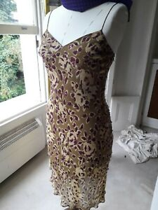 Catherine Malandrino silk on the bias dress with sequins, easy to wear, lined