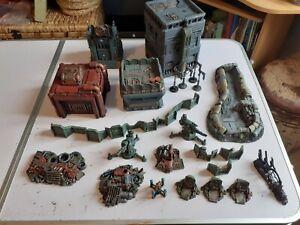 Warhammer 40k terrain scenery necromunda oop painted job lot defence line