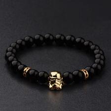Fashion Women Starwars Stormtrooper 8MM Black Beads Charm Men's Bracelets 2017