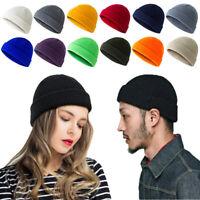 Men Women Winter Knitted Hat Skullcap Sailor Ski Cap Cuff Brimless Beanie Hat