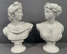 Pair (2) Vintage GRECIAN Statue GREEK APOLLO & ARTEMIS Old PORCELAIN Parlor BUST