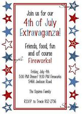 4th of July Stars Party Red White Blue Birthday Invitations