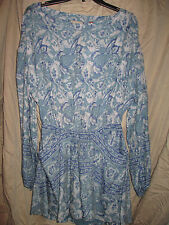 Free People short dress(or long top)size M,washed blue combo,low cutout back