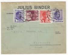 1939 Sibiu Romania Registered to Westzaan Netherlands, Four King Carol Stamps