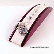 St Dymphna Rosary Bracelet White Magnesite Patron of Stress Anxiety Depression