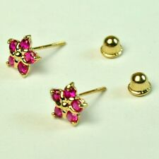 14k solid y/gold 6.5mm Red Ruby Star stud screw back gorgeouse earrings .60 tcw