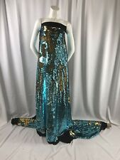 BLACK 2 WAY STRETCH SPANDEX STITCHED WITH REVERSIBLE SEQUIN GOLD/TURQUOISE-1YARD