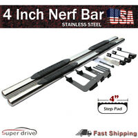 """For 07-18 Chevy Silverado Double Cab 4"""" Oval Side Step Nerf Bars Running Board"""