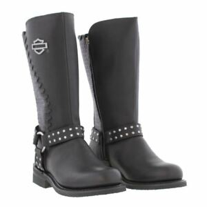 Harley Davidson Ladies Aimee Black Leather Boot  Biker Zip Boots Studs