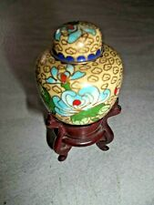 Beautiful Cloisonné On Brass Miniature 3 1/2� Ginger Jar On Stand