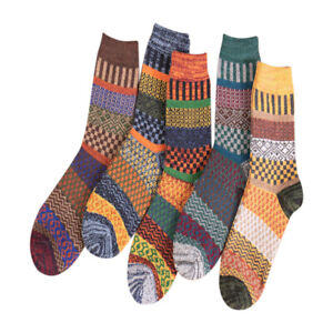 5 Pairs Winter Nordic Wool Blend Cashmere Thick Warm Knitted Thermal Crew Socks