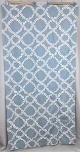 "Pottery Barn Kendra Trellis Shower Curtain Porcelain Blue Linen Blend 72""x72"""