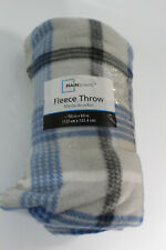 "Mainstays Fleece Throw Blanket 50"" x 60"" Blue Grey White Plaid"