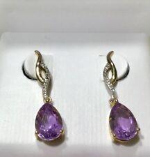 Amethyst & Diamond Dangle Earrings in 10K Yellow Gold 25 MM Long