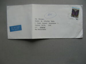 SIERRA LEONE, cover to the Netherlands 1991, insect butterfly (PERF 14)