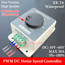 Waterproof DC10V~60V 12V 24V 36V 48V 20A PWM DC Motor Speed Controller Regulator