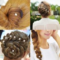 10pcs Silver Wedding  Diamante  Crystal Hair Flower Twists Swirls Pins