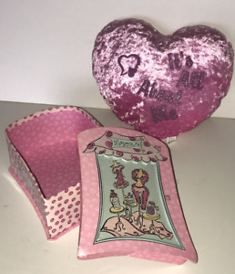 """Cushed velvet Pink Heart Pillow """"It's All About Me"""" and Girls trinket box"""
