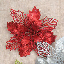 18cm Artificial Glitter Christmas Flower Ornaments Xmas Tree Decoration