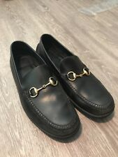 Gucci Horsebit Mens Black Leather Loafers Size 11