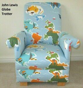 Child's Chair John Lewis Globe Trotter Fabric Children's Armchair Blue Maps New