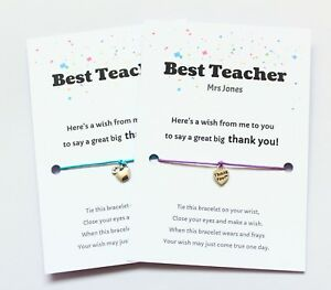 Best Teacher Wish Bracelet Card, Thank You School Gifts, Personalised Option
