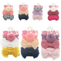 Headband Stretch Bow Toddler Head Wrap Girls Kids Baby Hair band 3Pc Knot
